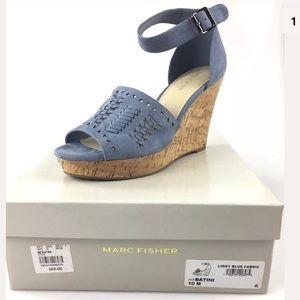 Marc Fisher Suede Ankle Strap Wedges New In Box